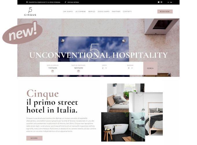 Il nuovo sito di Cinque Rooms Verona